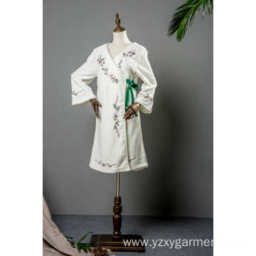 White coral fleece with full embroidery long robe