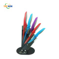 Colorful Titanium 5pcs Knife Set with TPR Handle