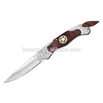 Brown Pakka Wood Brass Insert Etching Pocket Knife