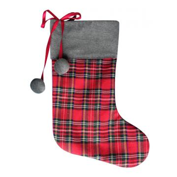 Scottish style christmas stocking gift with plush ball