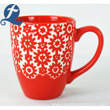 Factory wholesale custom printed unique enamel ceramic relief mug
