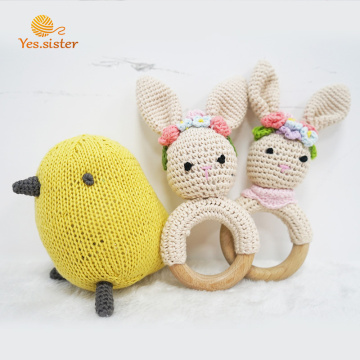 Beech Wooden Ring Crochet Bunny Rattle Teether Toy