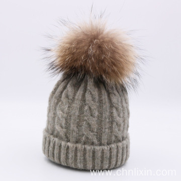 Large fur ball beanie hat baby winter hats