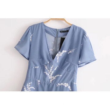 Short Sleeve V-neck Printed Fashion Casual Dress