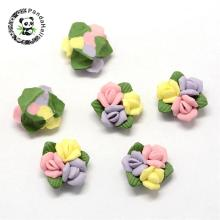 Handmade Porcelain Cabochons, China Clay Beads, Flower, Pink, 16~18x15~16x7~8mm