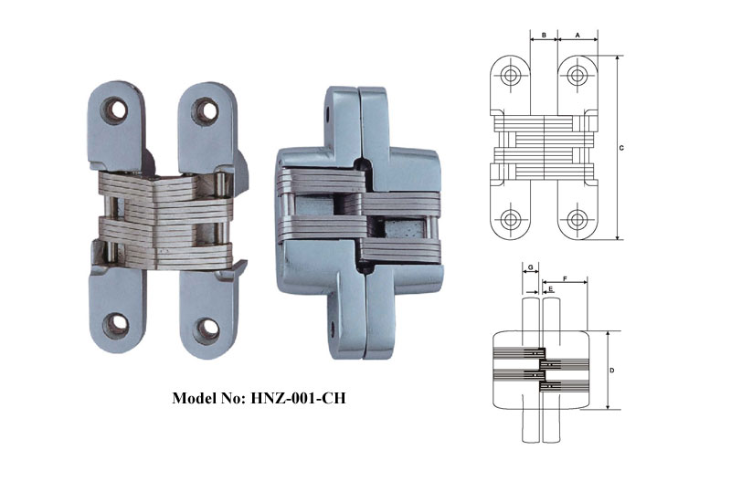Zinc Alloy Concealed Hinges For Building Door A