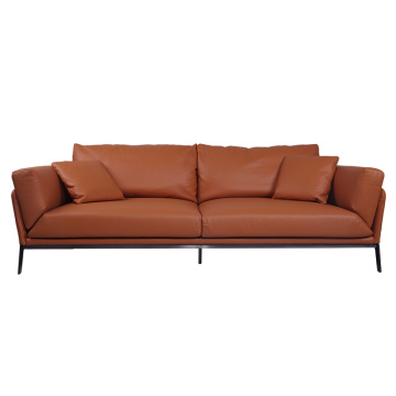 2020 New Design Tan Aniline Leather Sofa