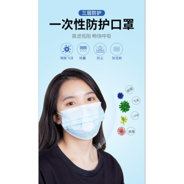 3 PLY Disposable Mask For Anti-Coronavirus