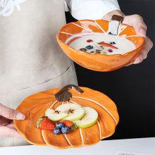 Pumpkin Design Ceramic Bowl Dessert Plate Round Backing Ramekin Bowl Dinner Dishes Breakfast Dinnerware Set Microwave Safe