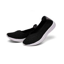 Womens Black Fashionable Woven Flats Ladies Ballerina Shoes