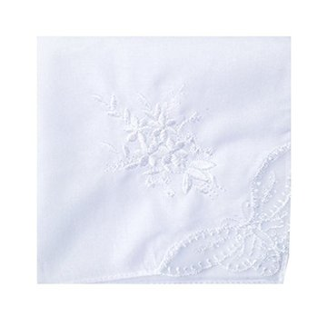 Womes White Cotton Handkerchief Embroidery Wedding