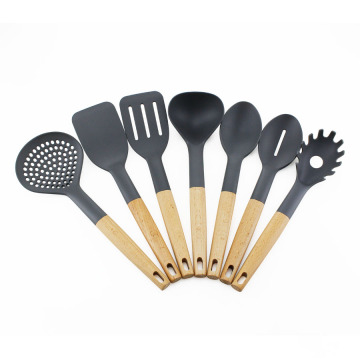 7pcs Beech wood handle Kitchen Nylon utensils set