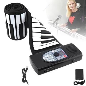 88 Keys USB MIDI Roll Up Piano Rechargeable Electronic Portable Silicone Flexible Keyboard Organ Speaker Bluetooth Connection