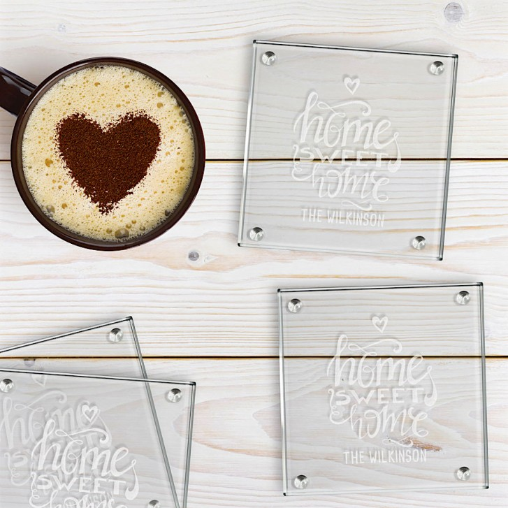 Engraved Square Glass Coasterss Home Sweet Home