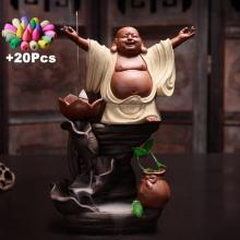 Gift 20Cones Zen Buddha Mascot Creative Ceramic Backflow Incense Burner Incense Cones Holder Yoga Ornament Assuaging and Calming