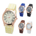 Print Logo Men Leather Alloy Roman Numerals Watches