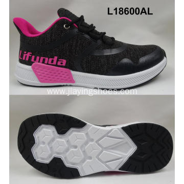 Lady breathable flyknit casual shoes