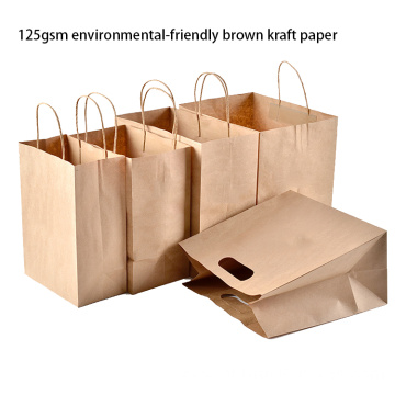 Custom Print Brown Kraft Paper Bags With Handles