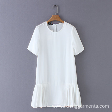 Women Pure White -Neck Lace A-line Dress