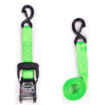 "1.5"" 2 Ton 38mm Rubber Ratchet Buckle Cargo Tensioner Lashing Strip Belt With 1.5 Inch S Hooks Safety Latch"