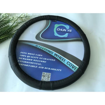 Durable leather steering wheel cover