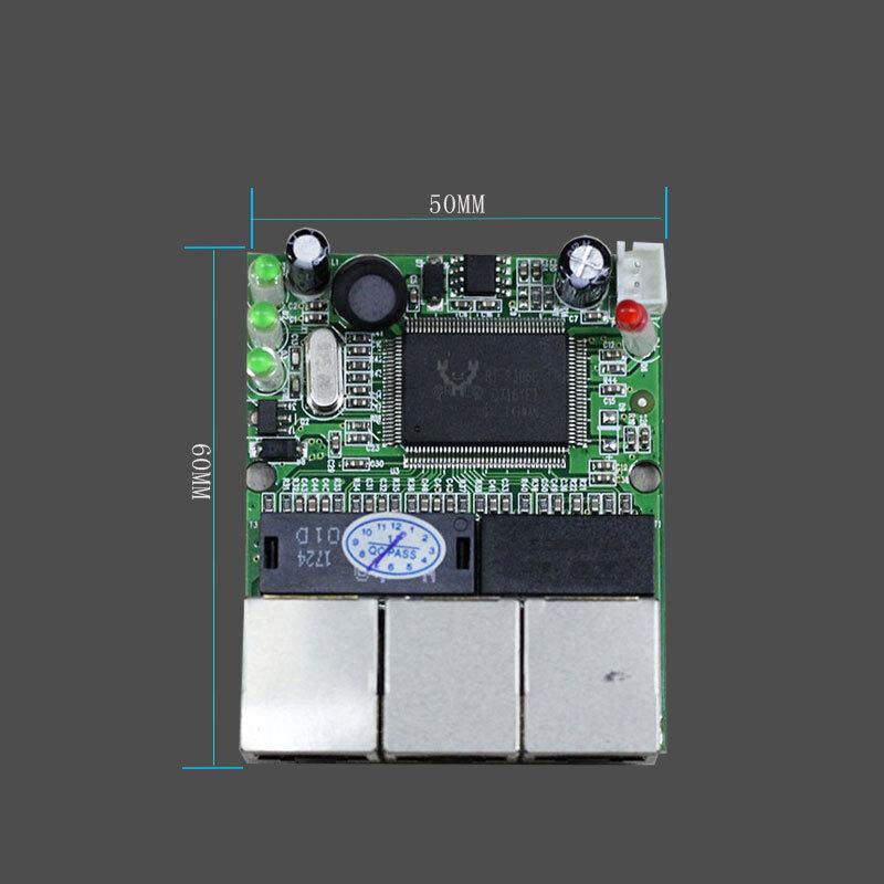 Realtek RTL8306E chipset 90/180 Degree RJ45 3 port Mini Ethernet Switch Board factory accept OEM ODM network switches pcb
