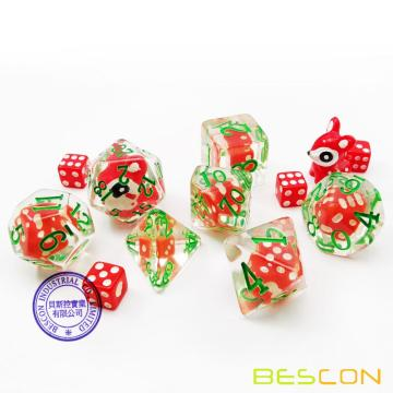 Bescon Novelty Deer Polyhedral Dice Set, Red Deer RPG Dice set of 7