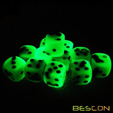 Bescon Two Tone Glowing Dice D6 16mm 12pcs Set SPOOKY ROCKS, 16mm Six Sided Die (12) Block of Glowing Dice