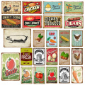 Farm Fresh Eggs Chicken Metal Poster Sweet Corn Tobacco Tomato Potato Wall Decor Art Painting Plaque Vintage Iron Signs YJ073