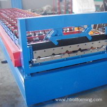 Metal sheet roof forming machine with on line hole punching