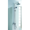 New round exposed shower system with tub spout