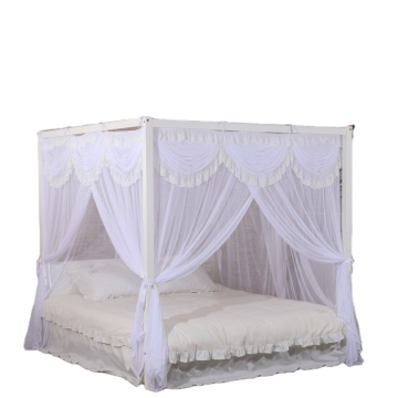 Polyester White Mosquito Nets Square Beds Canopy