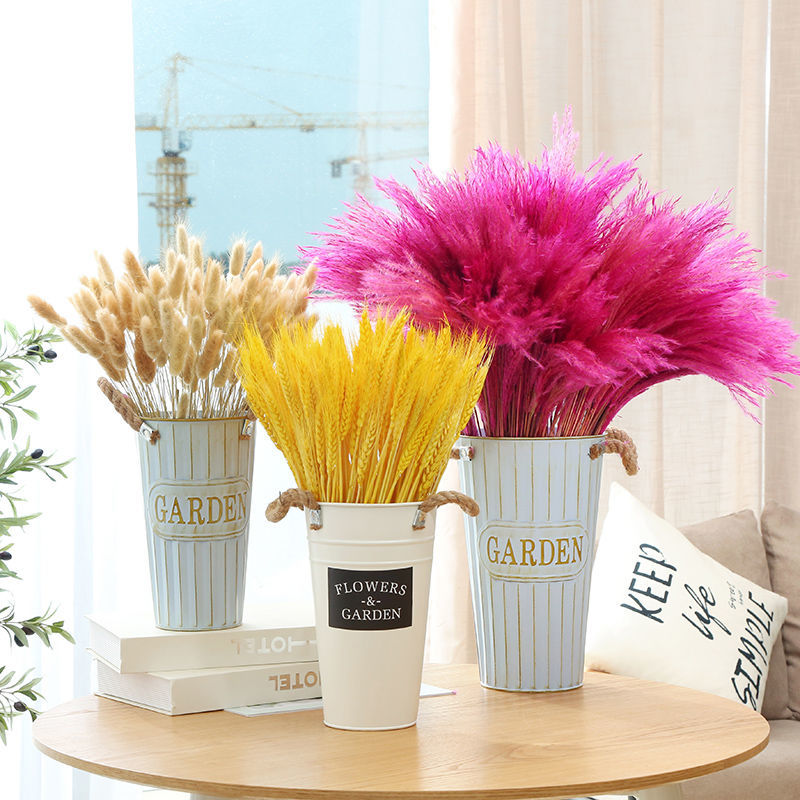 Natural Wheat Ear Pampas Rabbit Tail Grass Farmhouse Opening Barley Real Dried Flower Bouquet Pastoral Gift Flores Preservadas