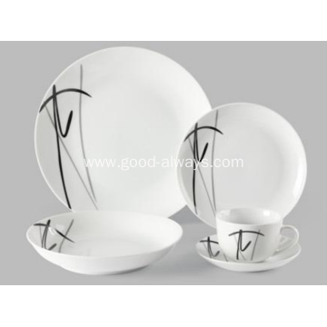 20 Piece Decal Coupe Porcelain Dinner Set