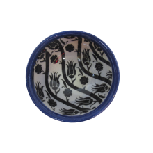 Hand Made Tile Patterned Kaolin Clay Quartz Limestone Bowl 8cm Old Turkish Pattern Blue Suitable to be used as a present