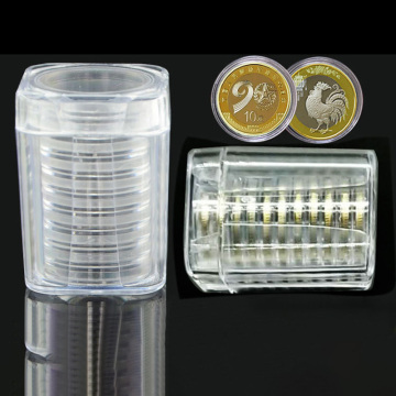 Round Coin Boxes Plastic Clear Capsule Box Collection Tube Holder Case Storage For 27mm Coins Storage Organizer Box For Collect