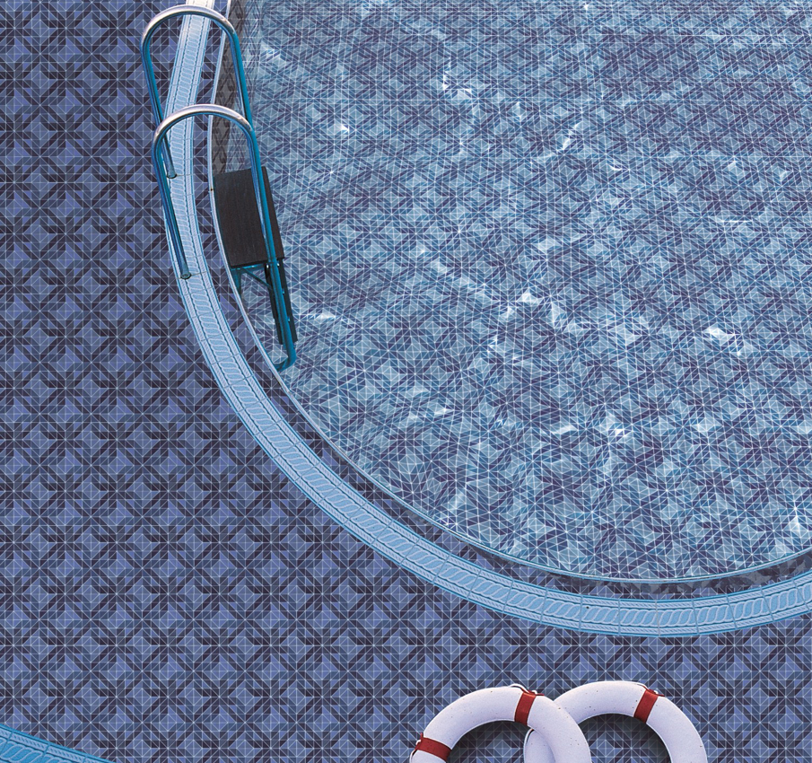 Triangular glass mosaic for swimming pool floor