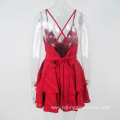 Women Sexy Mini Lace V-Neck Halter Mesh Dress