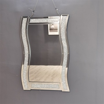 Clear Mirror and Crytal Diamond Wave Hanging Mirror