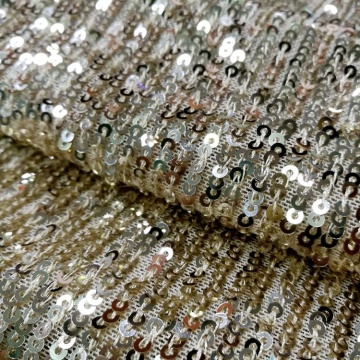 Wedding Stripe Gold Stretch 3mm Sequin Tulle Fabric