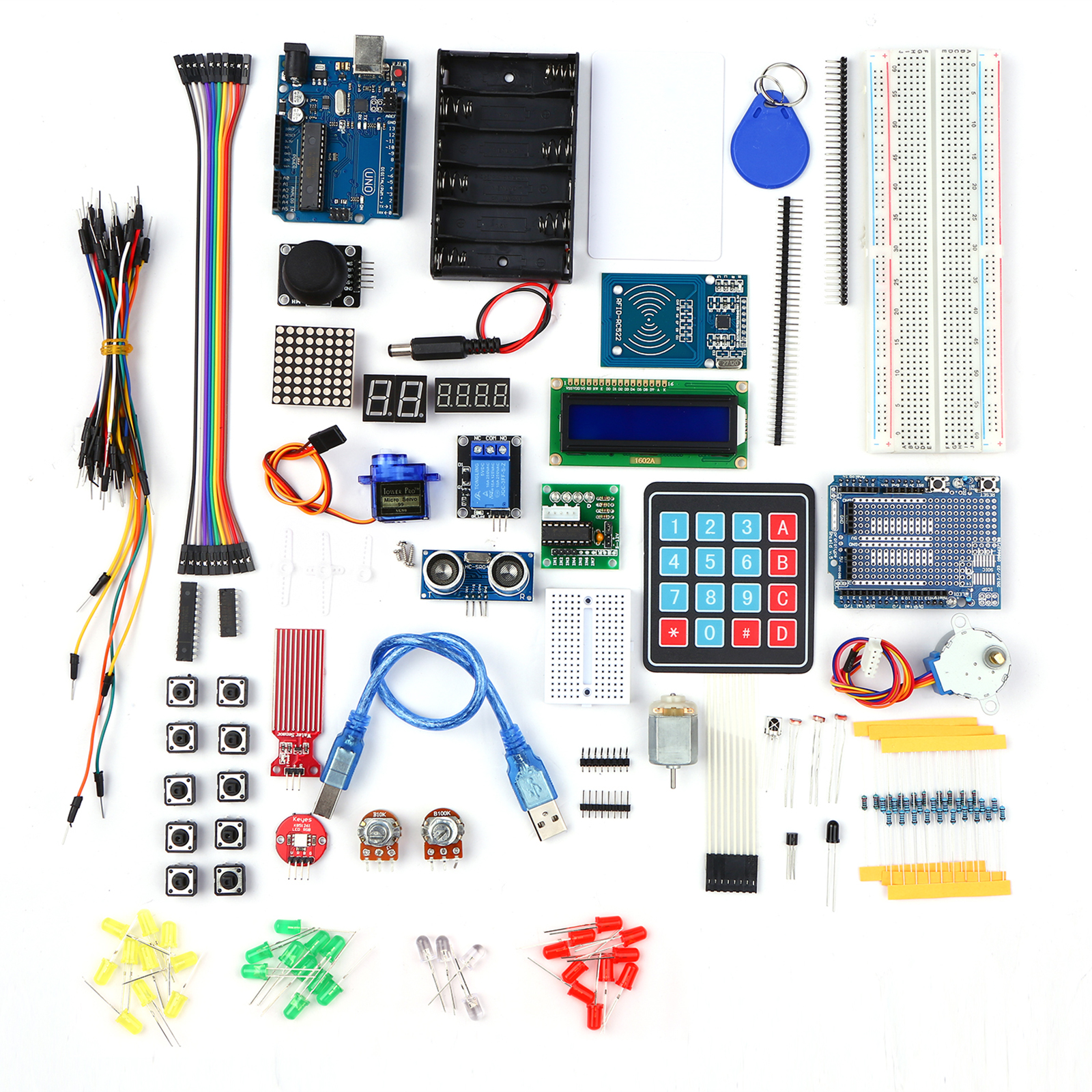 DIY Electronic Starter Kits Electronic Project Beginner Learning Kit with Sensors Stepper Motor Breadboard Electronics Component