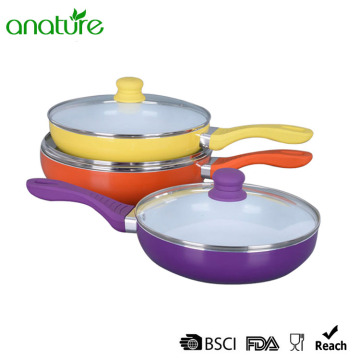 Deep Pressed Aluminum Ceramic Titanium Purple Fry Pan