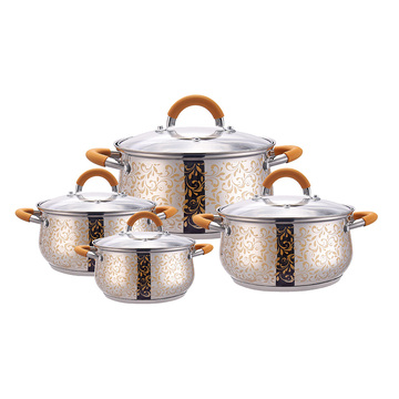 8-piece orange cooking pot with heat-resistant handle