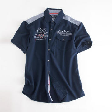 Men's Dark Blue Pockets Short Sleeve Embroidered Shirts
