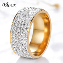 BICUX Fashion Titanium Stainless Steel 5 Row Lines Crystal Gold Zircon Ring for Women Men Female Teen Jewelry Wedding Rings Gift