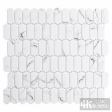 Mini Picket White Glass Mosaic Tile Backsplash