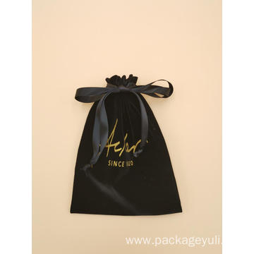 black velvet luxury drawstring bag for packing wine