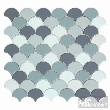 Grey Blue  Fish Scale Glass Mosaic Tile