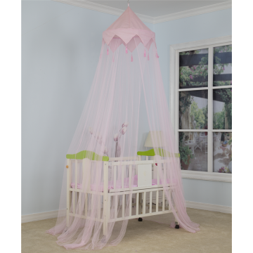 Pink Kids Circular Mosquito Net With Decor
