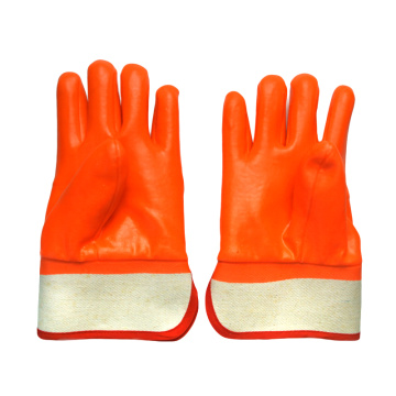 Flourescent Orange anti cold PVC coated gloves